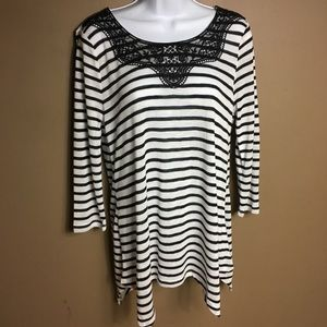 C Est 1946 striped and lace top size small